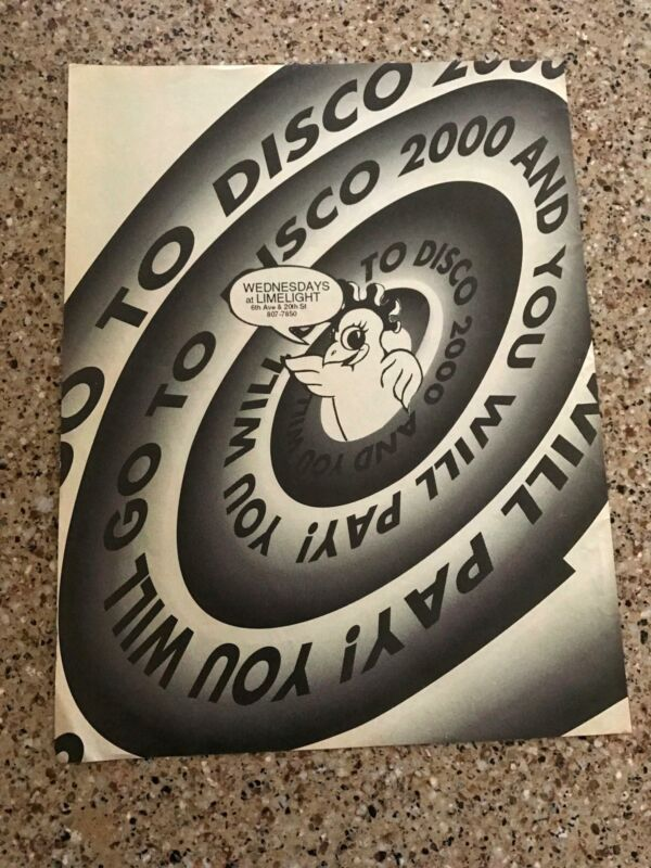 1993 VINTAGE 8X11 PRINT Ad FOR DISCO 2000 @WEDNESDAYS LIMELIGHT NYC MICHAEL ALIG