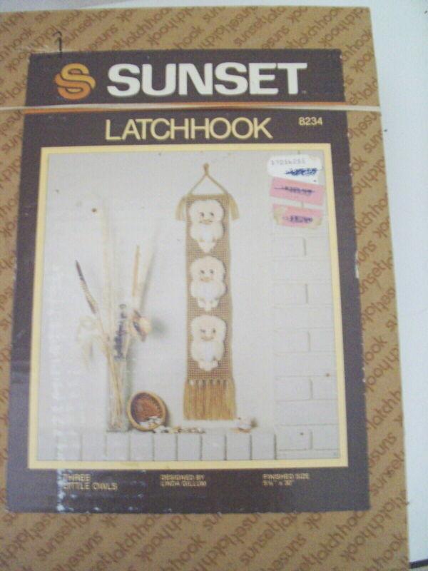 """Sunset Rug Latch Hook Kit: Three Little Owls 5.5"""" x 30"""" RARE OOOE Vintage 1982"""