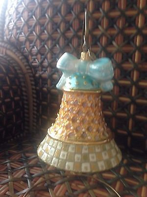 RARE MACKENZIE-CHILDS Parchment Check Bell Glass Ornament VERY RARE RETIRED