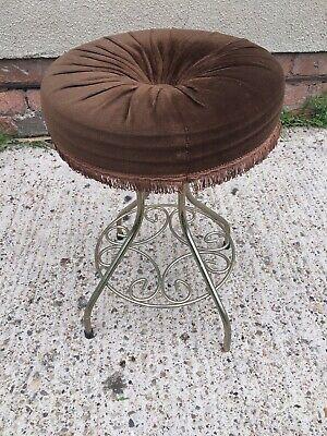 Vintage 1960's Brown Velvet Boudoir Chair Dressing Table Stool Retro Kitsch