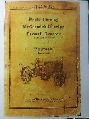 Farmall Regular F-12 F-20 F-30 Fairway Narrow Tractor Master Parts Manual Tc-6-c