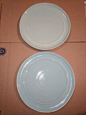"""Teal Dinner Plates (2 Ceramisia Teal Blue Stoneware 10.5"""" Dinner Plates Made in)"""