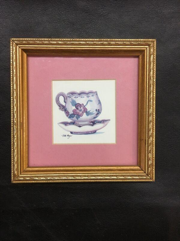 "Britt Ryan Teacup Print Gold Framed 6"" X 6"""
