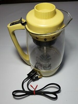 Vintage Proctor Silex 1973 Yellow Percolator Electric Coffee Pot Model 70703