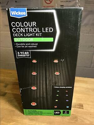 WICKES 8 X 30mm COLOUR CONTROL 12V LED OUTDOOR IP65 DECK LIGHT 10.5M RUN