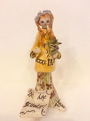 Italian Ceramic Music School Girl Hippy Blonde Pigtails Figurine Zampiva Style for sale  Shipping to Ireland