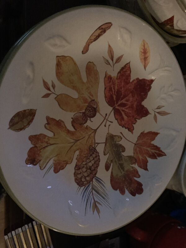 Longaberger Pottery FALL FOLIAGE Leaves Design Luncheon Plate