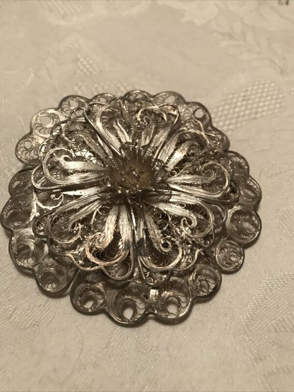VTG Sterling Silver - MEXICO Ornate Filigree Flower Floral Brooch Pin