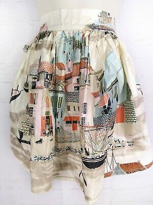 Vintage Skirt Apron Shiny Coated Fabric Venice? Town Mod 70's 50's Retro Kitchen