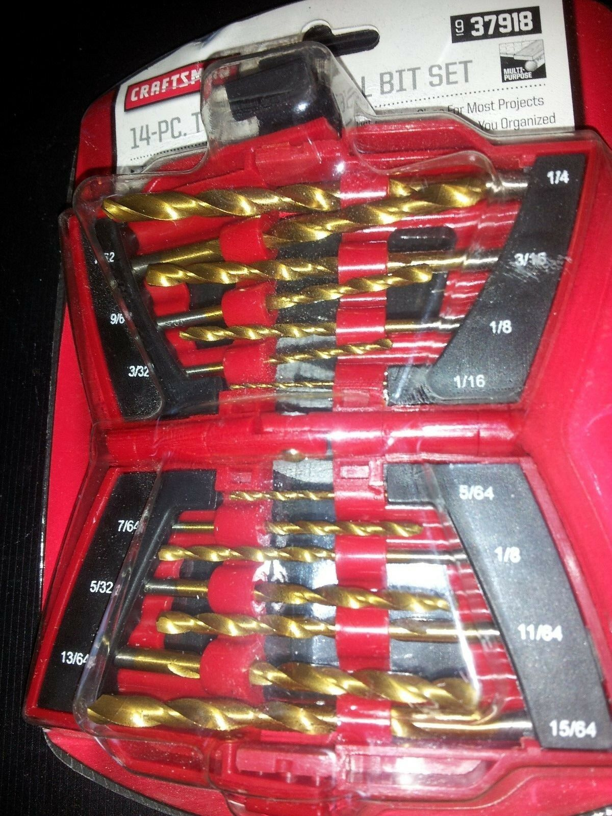 NEW Craftsman 14 Piece Titanium Drill Bit Set In Fold Out Ca