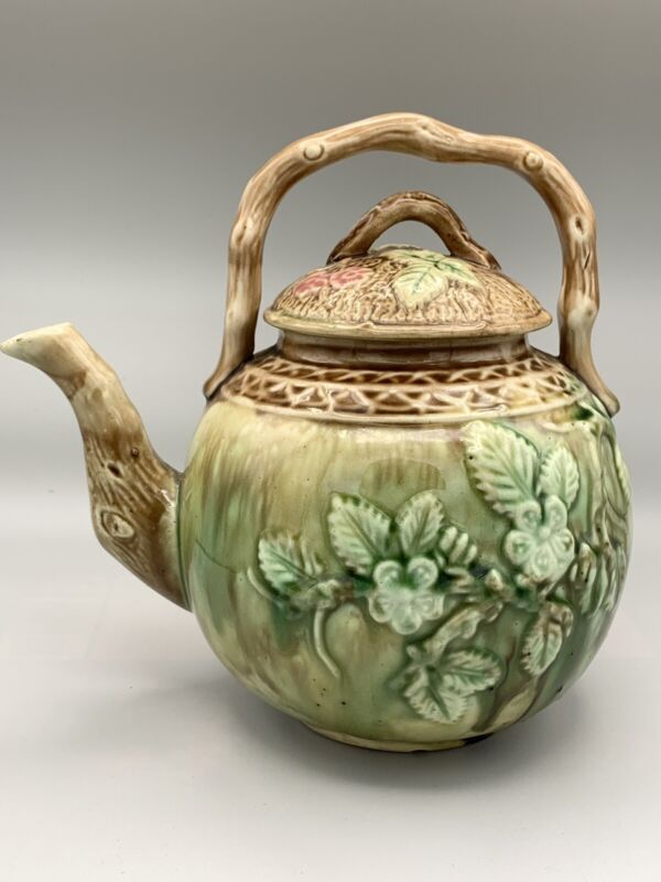 Vintage Majolica Blackberry Teapot with Bamboo Handle