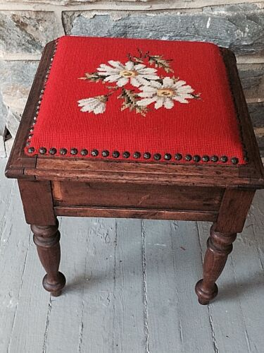 """Antique Foot Stool Sewing Box Wood & Needlepoint 16"""" Tall  Daisies on Orange"""