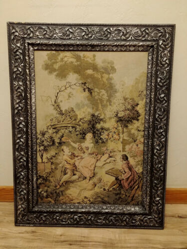 Antique Victorian French Silk? Tapestry Original Black/Silver Wood & Gesso Frame