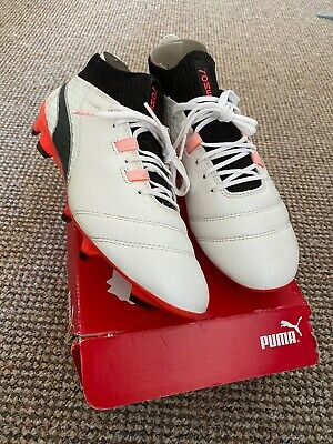 PUMA ONE 17.1 FG - WHITE/BLACK/FIERY CORAL - UK SIZE 7