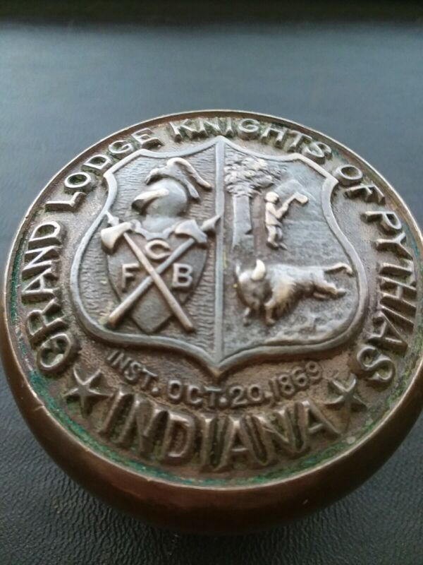 "2 1/2"" Knights Pythias Door Knob Antique  Victorian Yale 1907 Rare Emblematic"