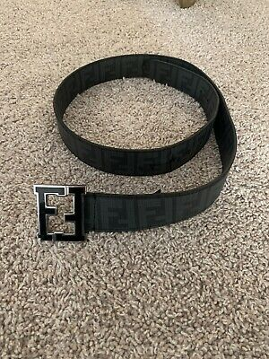Authentic Men's Black FF Fendi Buckle Belt Black Size 40 SALE