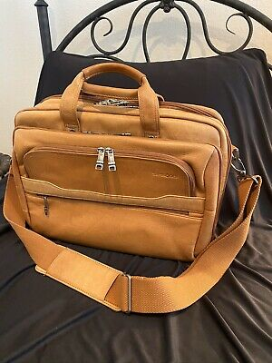 Samsonite Leather Business Case Bag Briefcase Laptop Computer Handbag Unisex