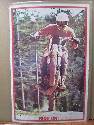 Vintage Moto Dirt Bike motorcycle RIDE ON! 1973 Motocross in#G503
