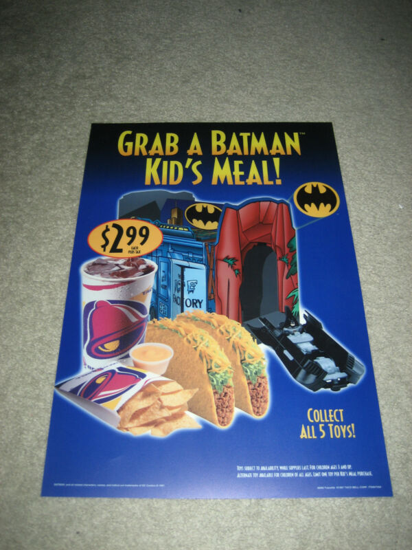 1997 Taco Bell Animated Batman & Robin Kids Meal Toy Plastic Sign Display