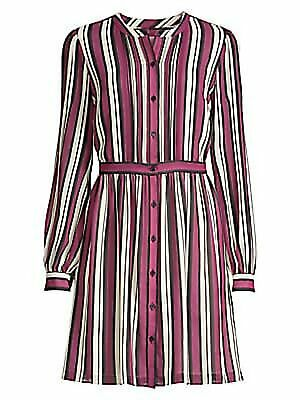 MICHAEL KORS $175 Womens New Purple Striped Belted Shirt Dress Dress M B+B