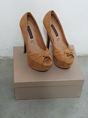 Scarpe open toe color cammello scamosciate N 36