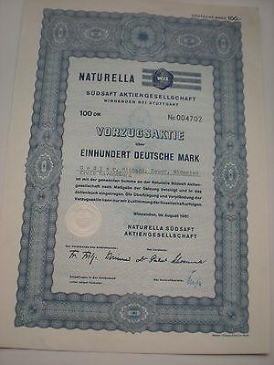 Deutschland - Naturella Südsaft AG   100 DM  1961  Vorzugsaktie   1/16-1