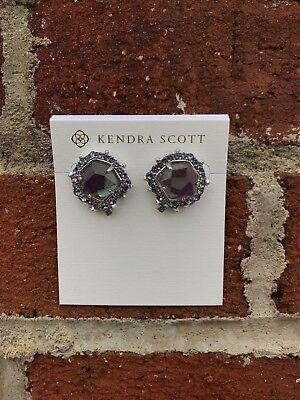 NWT Kendra Scott Abelia Stud Earrings in Rhodium Gray Dichroic Glass
