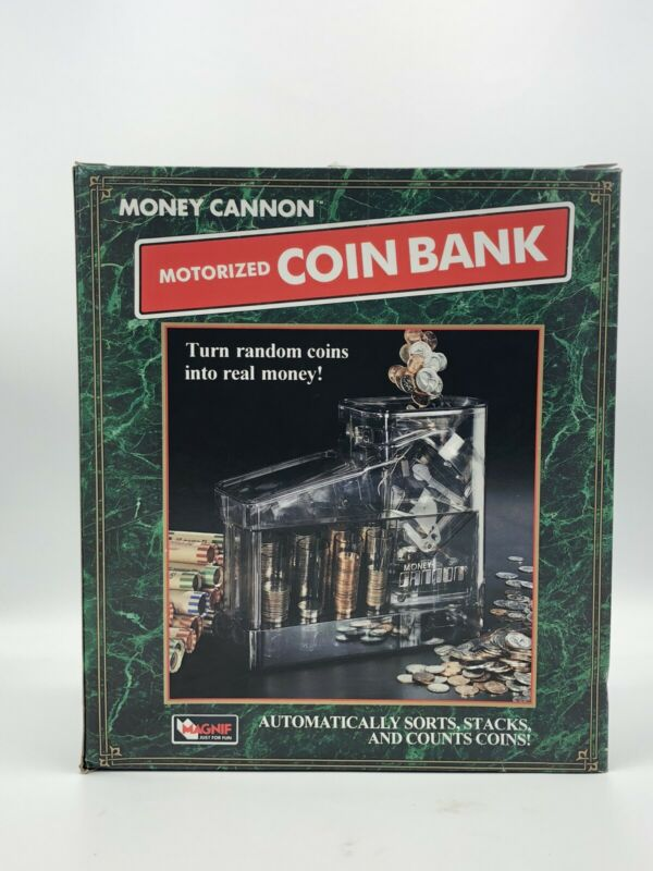 """Vintage Clear Money Cannon"""" Motorized Coin Bank Change Sorter, Stacker 1997 USA"""