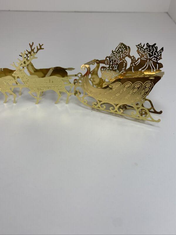 Vintage Christmas Around the World Brass - Santa Claus & Sleigh & Reindeer
