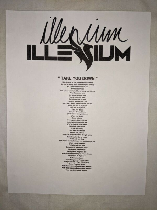 DJ ILLENIUM NICHOLAS MILLER SIGNED AUTOGRAPH LYRICS SHEET TAKE YOU DOWN