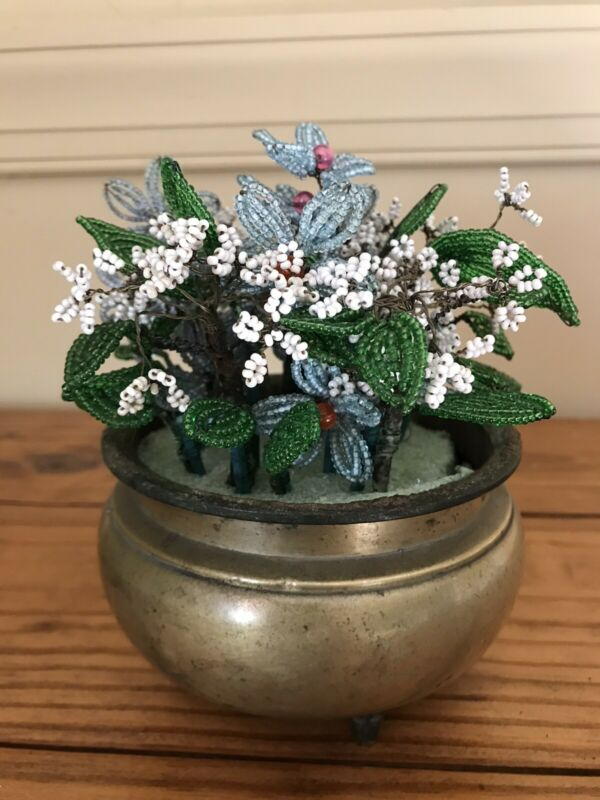 VINTAGE FRENCH BEADED GLASS SEED BEAD BLUE And WHITE FLOWER BOUQUET Brass Pot
