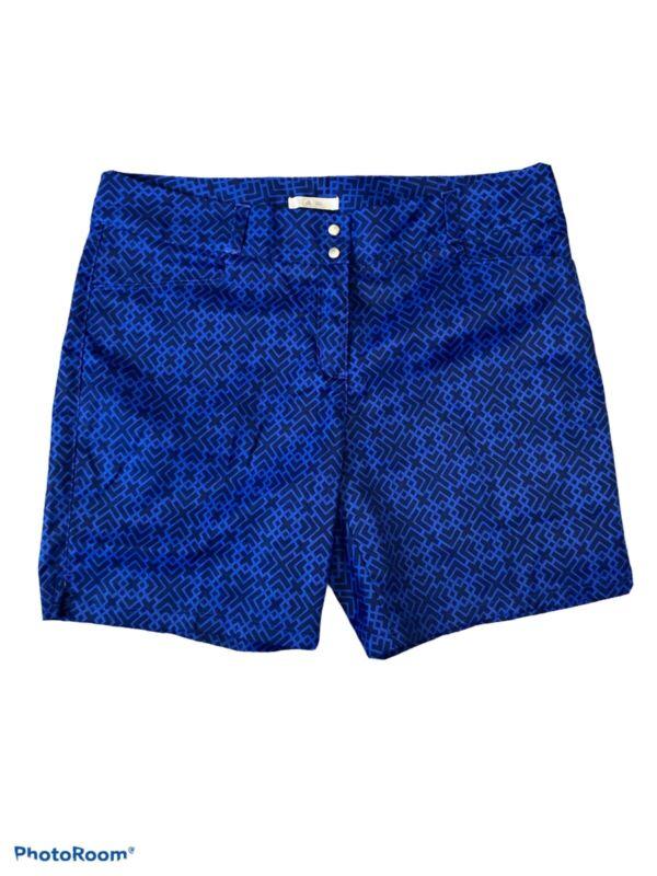 Adidas Women Golf Shorts Size 10 Blue Polyester Snap Button Zipper Flat Front