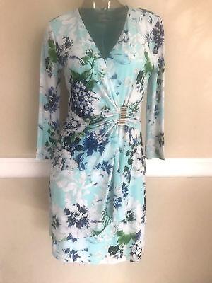 - Calvin Klein Floral Print Sheath Faux Wrap Jersey Dress Sea Glass NWT CD8AK995