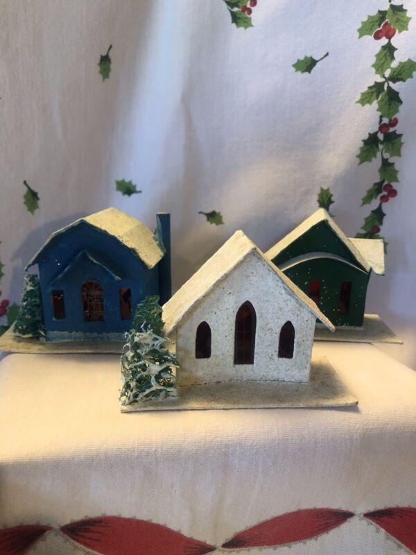 Vintage Putz Christmas Cardboard Houses Village Mica Glitter Sponge Trees Set 3