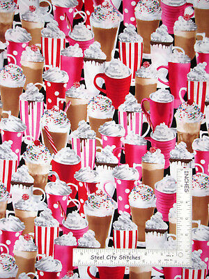 Chocolate Whip Cream - Hot Chocolate Pink Cup Whip Cream Cotton Fabric Timeless Treasures C9621 By Yard