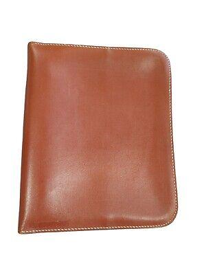 Vintage Cooper-weeks Limit Brown Genuine Leather Zip 3 Ring Binder Made N Canada
