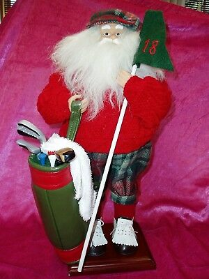 Bealls  17  Tall  Golfing Santa    Taking A Break   Red Plaid Outfit  Golf Bag