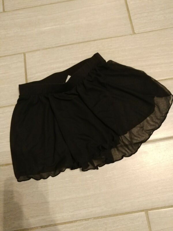 DANSKIN NOW Black DANCE BALLET SKIRT SMALL 6/6X sheer ruffled hem