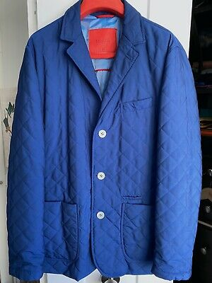 ISAIA NAPOLI FITTED BLUE Quilted Poly Aqua Jacket COAT XL 54 PREOWNED RARE!!!