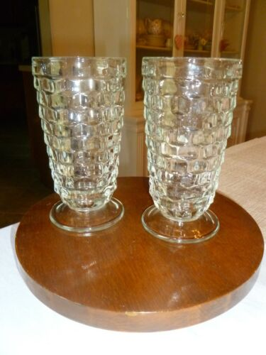 Vtg. Indiana Drinking Glasses   Set of Two  Cubist  Footed Clear  Water/Tea