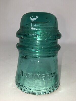 Vintage Glass  Hemingray # 16 Glass Electrical Insulator, Aqua Green Decoration