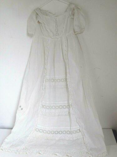 Antique Edwardian Cotton & Lace Baby Christening Baptismal Dress
