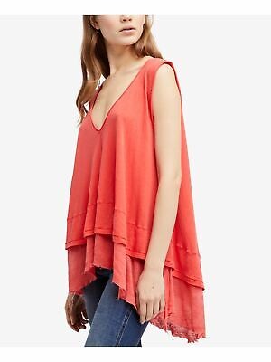 FREE PEOPLE Womens Coral Layered Look Tank Sleeveless Hi-Lo Top M
