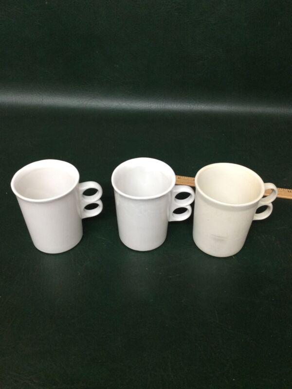 Set of 3 Bennington Potters David Gil White Trigger Handle Pottery Mugs #1340