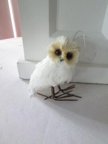 "4"" White Feathered Owl Wildlife Christmas Ornament, New"