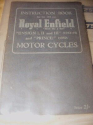ROYAL ENFIELD ENSIGN 1, 11 & III & PRINCE INSTRUCTION BOOK 1953 - 59