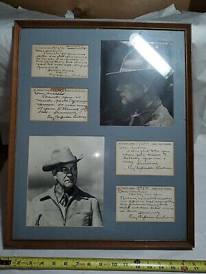 X4 SIGNED LETTERS ROY CHAPMAN ANDREWS in nice frame with photos from old estate