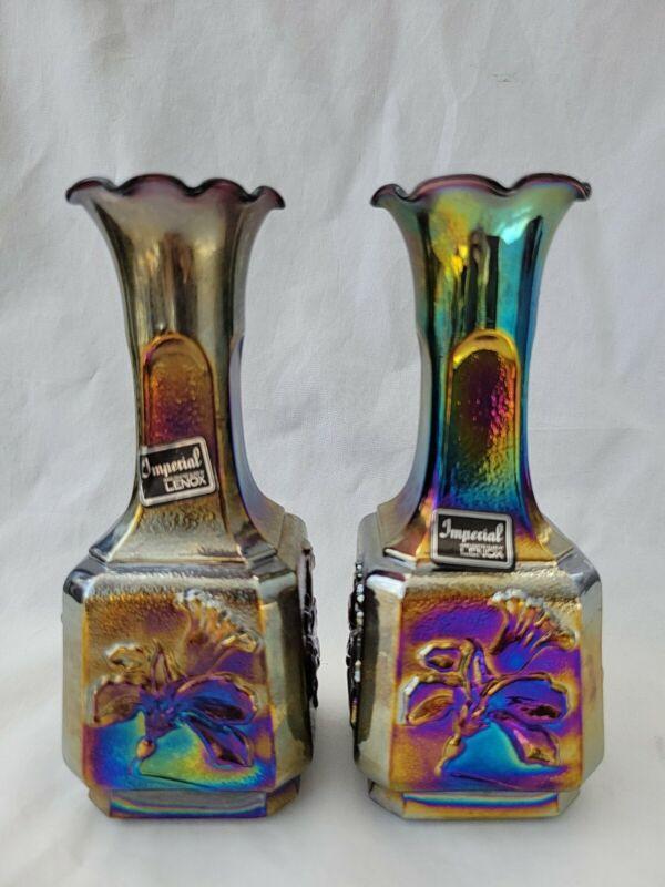 Pair of Imperial Lenox Amethyst Carnival Glass Jonquil Vases
