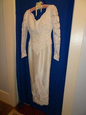 Vintage Moonlight 100% Silk Overlay Pearl Beading, Sequins & Lace Sheath Style