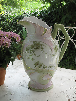 Antik Waschkrug Jugendstil grün rosa Blumen Shabby Landhaus Wasserkrug Krug